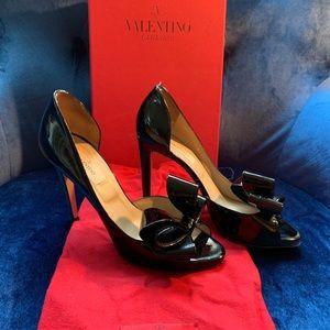 Valentino Black Patent Bow Heels
